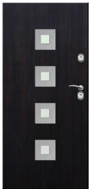 Drzwi Delta przeszklenie kwadrat 4 inox