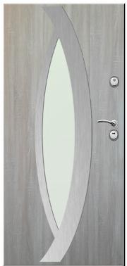 Drzwi Delta przeszklenie oczko inox